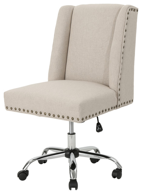 Quentin Home Office Fabric Desk Chair, Wheat.