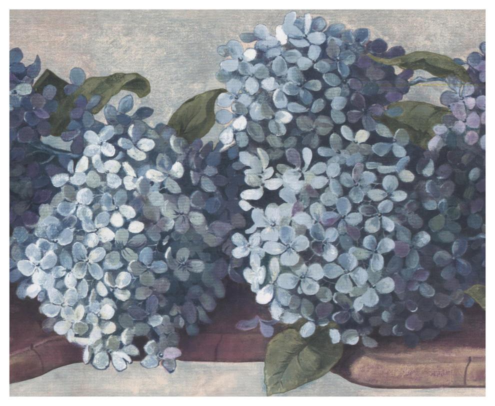 Wall Border Teal Cerulean Blue Hydrangea Hortensia Floral