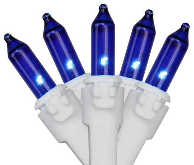 """Set Of 50 Blue Mini Christmas Lights 2.5"""" Spacing - White Wire."""
