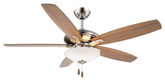 Three Light Ceiling Fan, Brushed Nickel, B10.5 Cand.