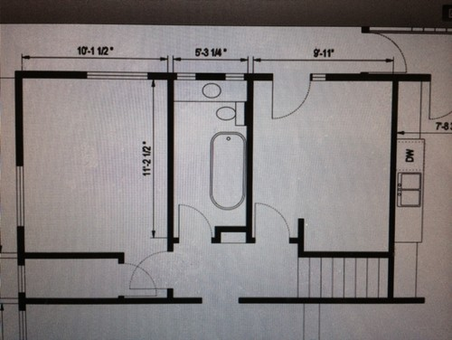 Need help with 5 x 11 bathroom layout for 6 x 14 bathroom layout