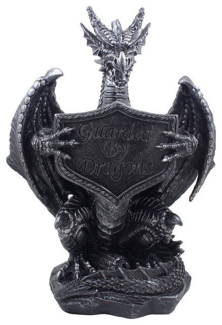 Guardian dragon holding guarded by dragons sign statue transitional sculptures by home - Guarding dragon accent table ...