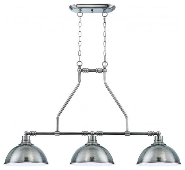 3 light pendant hammered nickel industrial kitchen island lighting joshua marshal   3 light pendant hammered nickel   view in your      rh   houzz com