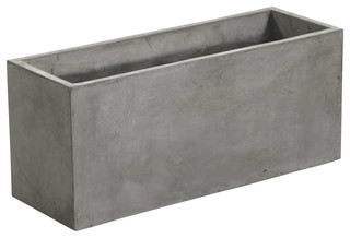 Newport Rectangular Concrete Planters, Sold as Set of 2, Medium