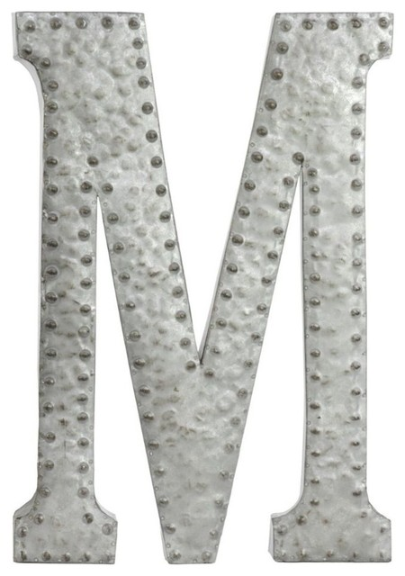 Letter M Wall Decor metal wall decor letter m with rivets, dark bronze - industrial