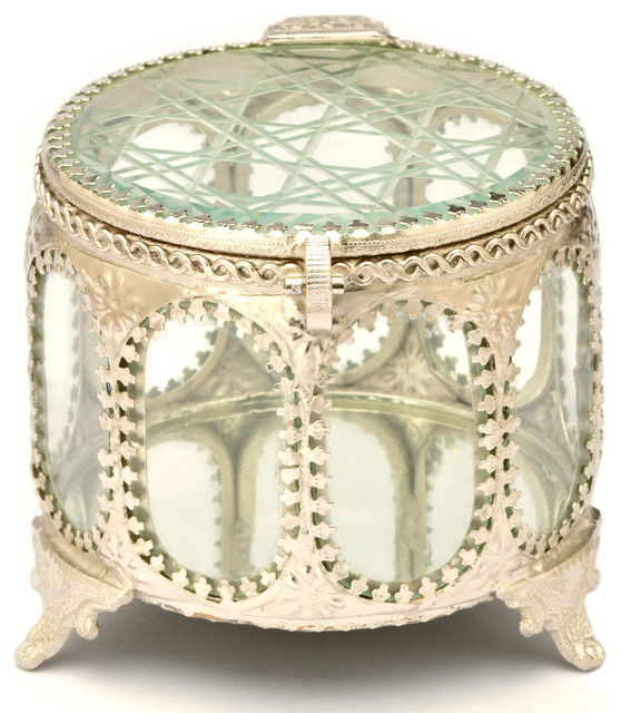 Cylindrical Decorative Glass Jewelry And Keepsake Box Traditional Jewelry Boxes And Organizers By Resoursys Unlimited Inc Houzz