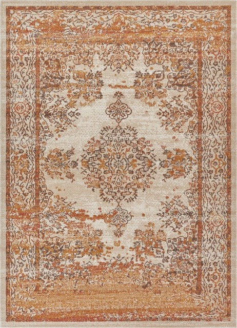 Well Woven Firenze Cannes Modern Medallion Earth Area Rug 5&x27;3x7&x27;3.