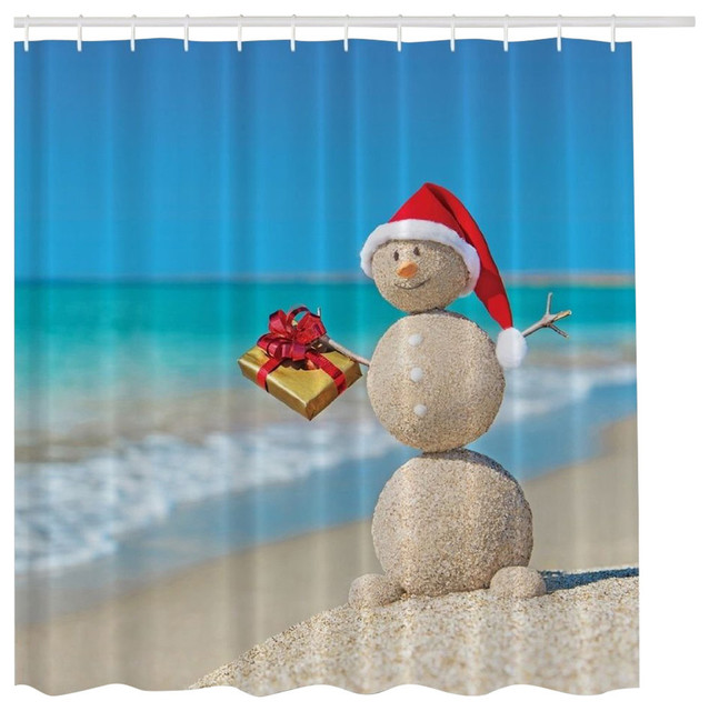 MoreThanCurtains - Holiday Christmas Sand Snowman on Beach Digital ...