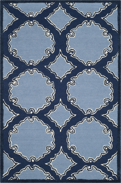 Safavieh Bella Hand Tufted Wool Pile Rug Navy And Blue