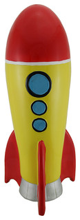 Jumbo red and yellow rocket ship coin bank eclectic piggy banks by zeckos - Rocket ship piggy bank ...