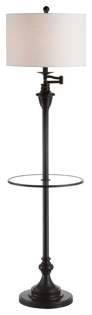 """Cora 60"""" Metal, Glass LED Side Table and Floor Lamp, Oil Rubbed Bronze"""