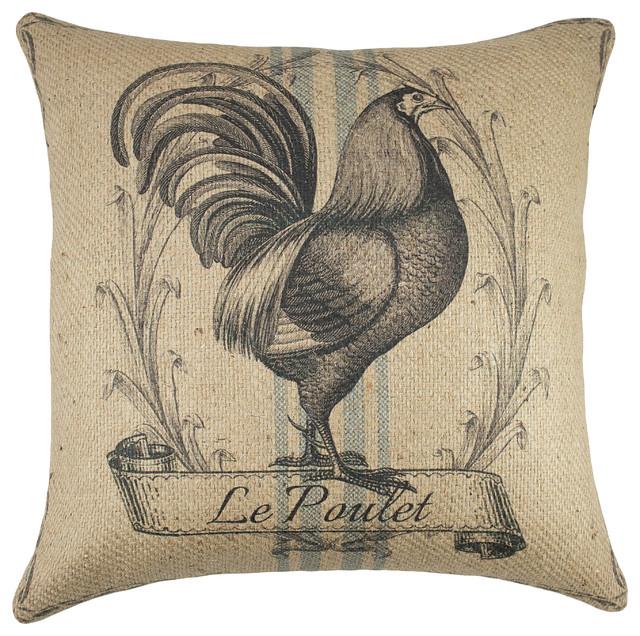 Le Poulet Burlap Pillow.