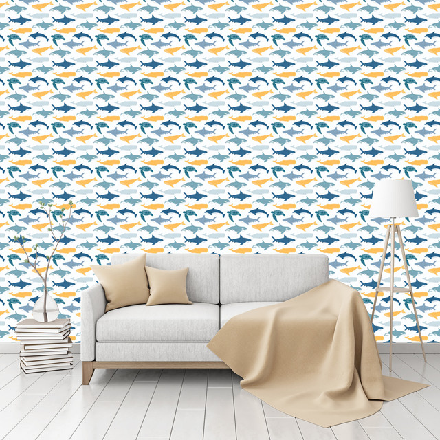 sea animals patterned peel stick textured wallpaper by beach style. Black Bedroom Furniture Sets. Home Design Ideas