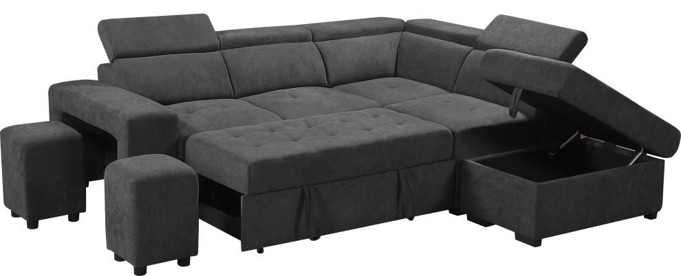 Henrik Gray Sleeper Sectional Sofa With Storage Ottoman and 2 Stools, Dark Gray