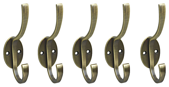 Set of 5 Antique Brass Finish Metal Wall Mounted Hat / Coat Hooks