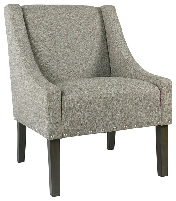 Peachy Wooden Accent Chair With Swooping Arms Nail Head Trim Light Gray Brown Bralicious Painted Fabric Chair Ideas Braliciousco