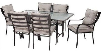 7-Piece Patio Furniture Metal Dining Set With Cushions.