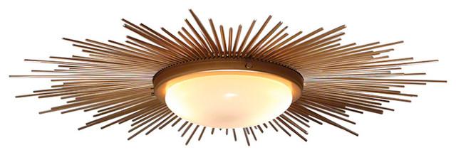 Hudson home decor sunburst light fixture view in your room global views sunburst light fixture gold midcentury flush mount ceiling lighting mozeypictures Choice Image