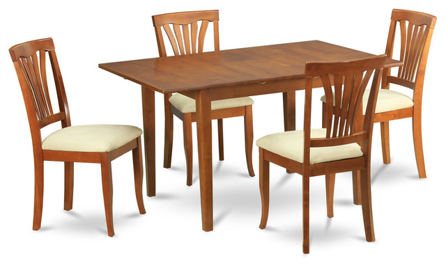 5 Piece Dinette Set For Small Spaces Dining Tables And 4 Dining Room Chairs  Transitional