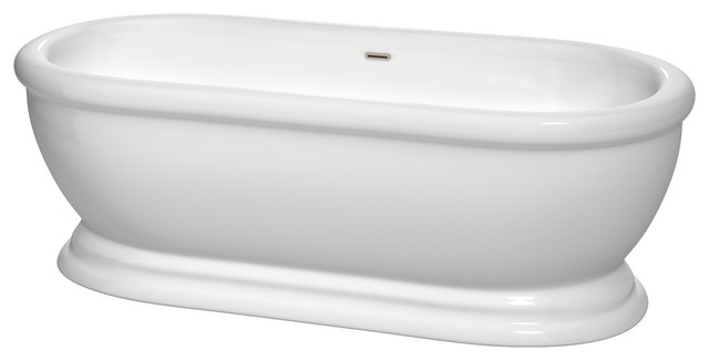 "Mary 68"" Freestanding White Bathtub, Brushed Nickel Drain And Overflow Trim."