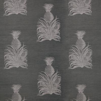 Petite Pineapple Wallpaper White Blue Grasscloth