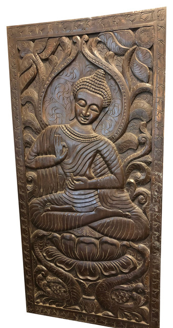 Buddha Wood Hand Carved Hand Painted Home Decor Panel Wall or Floor Art Table