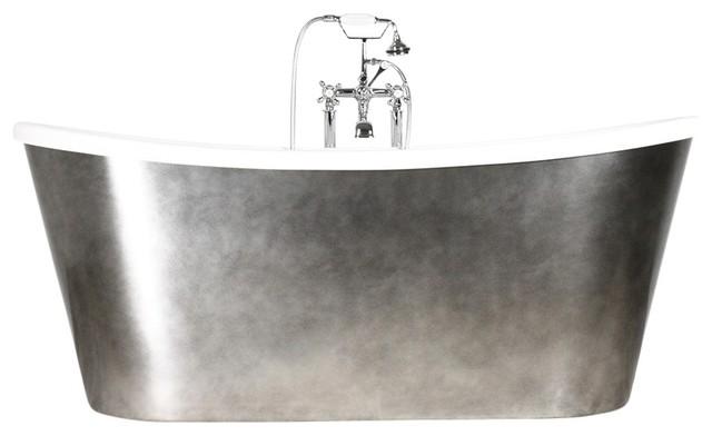 "'Ginevra' CoreAcryl French Bateau Acrylic Skirted Tub Package, 73"" Length"