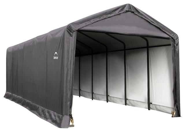 12&x27;x30&x27;x11&x27; Sheltertube Storage Shelter, Gray Cover.