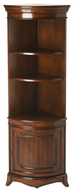 Dowling Plantation Cherry Corner Cabinet, Dark Brown - Traditional - China Cabinets And Hutches ...