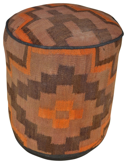 Sedona Kilim Rug Pouf - Southwestern - Floor Pillows And Poufs - by Crafters and Weavers