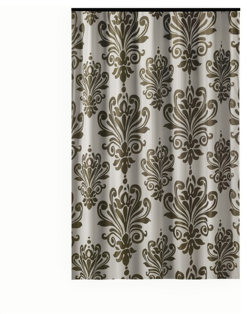 Extra Long Shower Curtain 72x 78 Gamma Brown And White Baroque Fabric