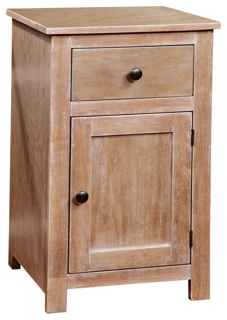 New Antique Natural Solid Wood Storage Side Table With Cabinet 1  UZ73