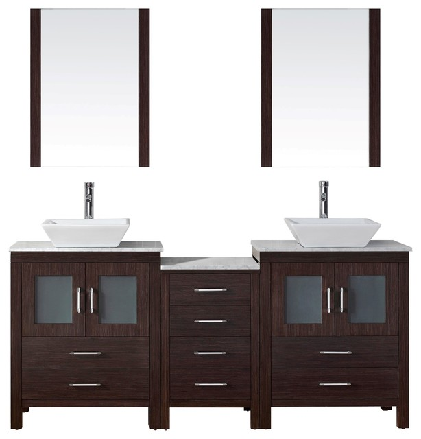 Dior 66 Double Bathroom Vanity Set Espresso Marble Top Vessel Sink