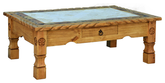 Cowboy Coffee Table With Marble, Carved Rope Detail, Black Rustic Coffee  Tables