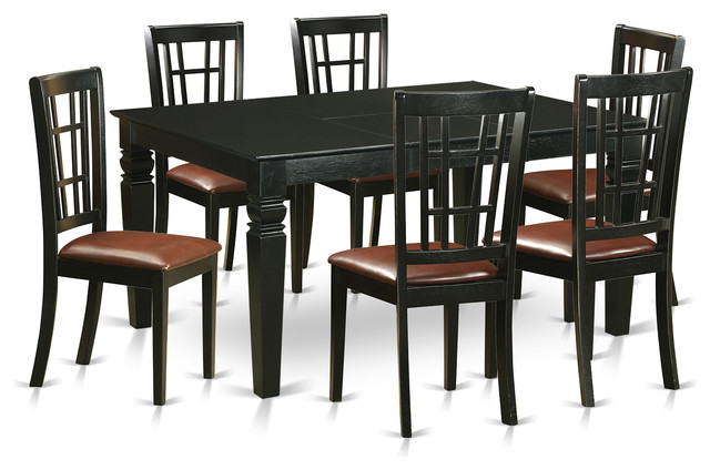 noah dining table set black 7 pieces transitional dining sets