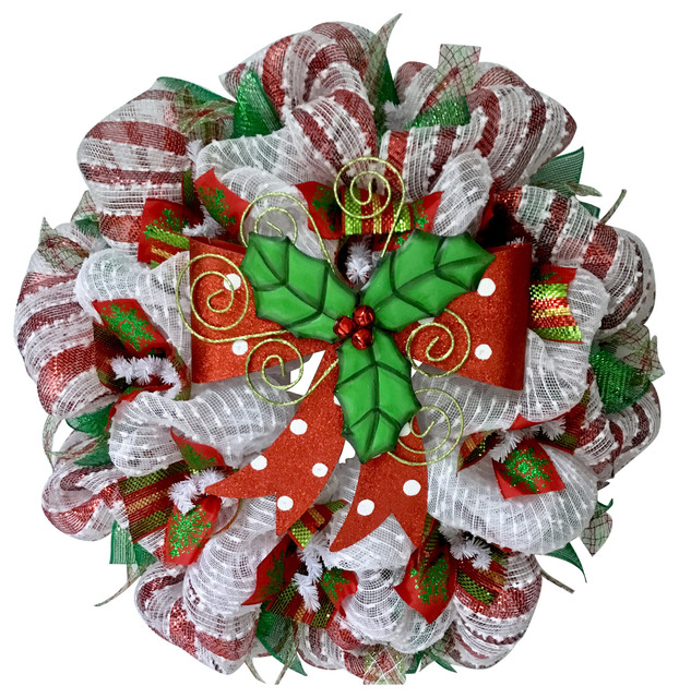 bright holiday bow with holly and bells handmade deco mesh christmas wreath - Deco Mesh Christmas Wreath