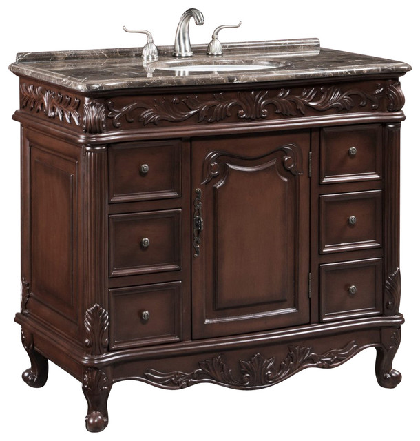40 inch single vanity with marble top traditional bathroom vanities and sink consoles by for Single sink consoles bathroom