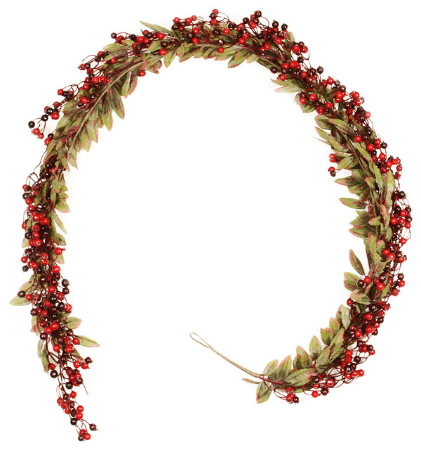 festive red berry and holly leaves artificial christmas garland unlit 6u0027 traditional