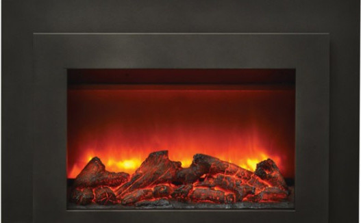 30 Deep Insert Electric Fireplace With Black Steel Surround & Overlay.