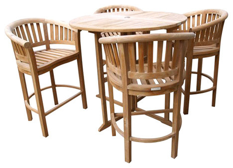 """Dropleaf Counter Table 47"""", 4 Chairs, Grade A Teak, Counter 5"""" Lower Then Bar"""