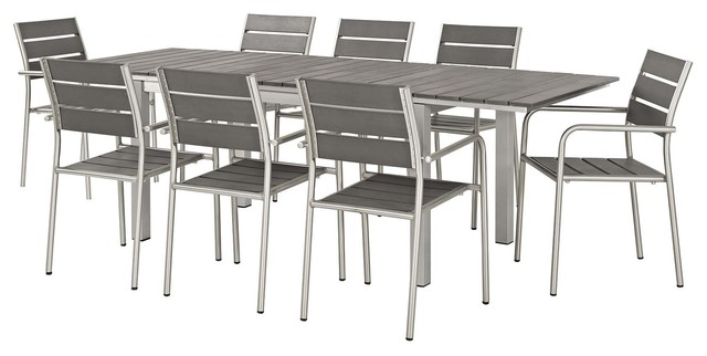 Modern Outdoor Side Dining Chair And Table Set Aluminum Metal Gray Contemporary Outdoor Dining Sets By House Bound