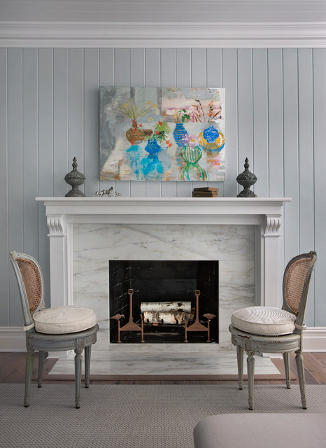 Example of a large coastal living room design in Other