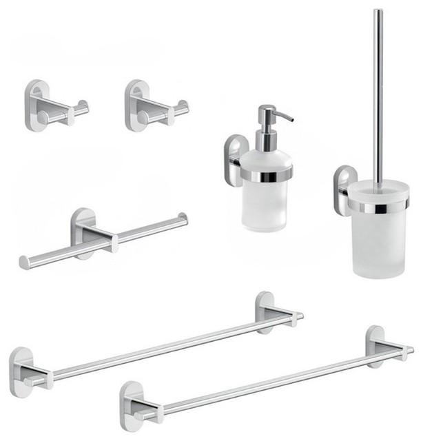 Piece Chrome Bathroom Hardware Set, Modern Chrome Bathroom Accessories Set