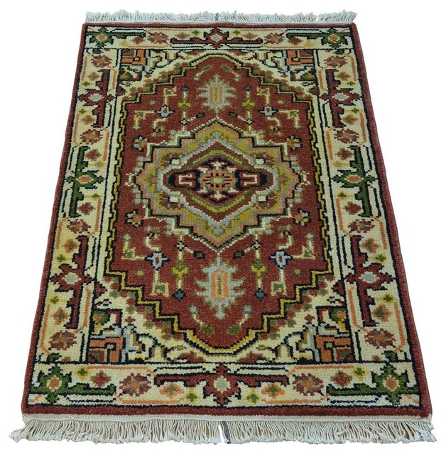 Hand Knotted Heriz Wool Fine Persian Oriental Area Rug: 1800 Get A Rug Hand Knotted Tribal Design Pure Wool Serapi