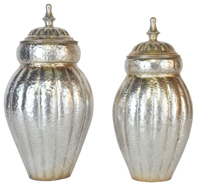 EMDE Silver Metal Jars, Set of 2