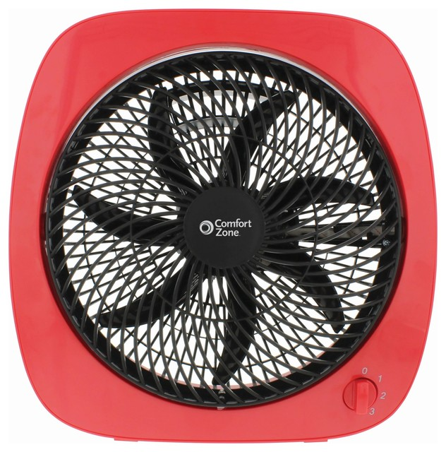 "10"" Square Turbo Fan, Red."
