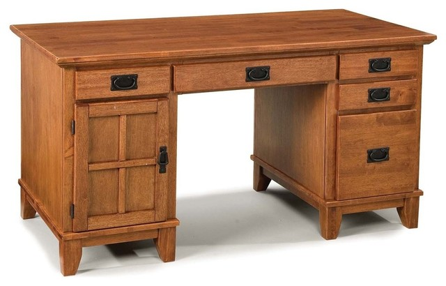 Lachlan Arts And Crafts Pedestal Desk, Cottage Oak.