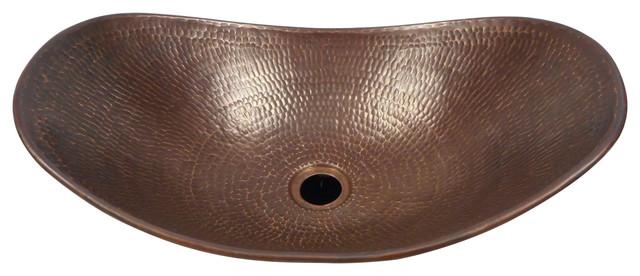 "Oval Canoa Copper Vessel Bathroom Sink in Brushed Sedona Finish, 18""x11-1/2"""
