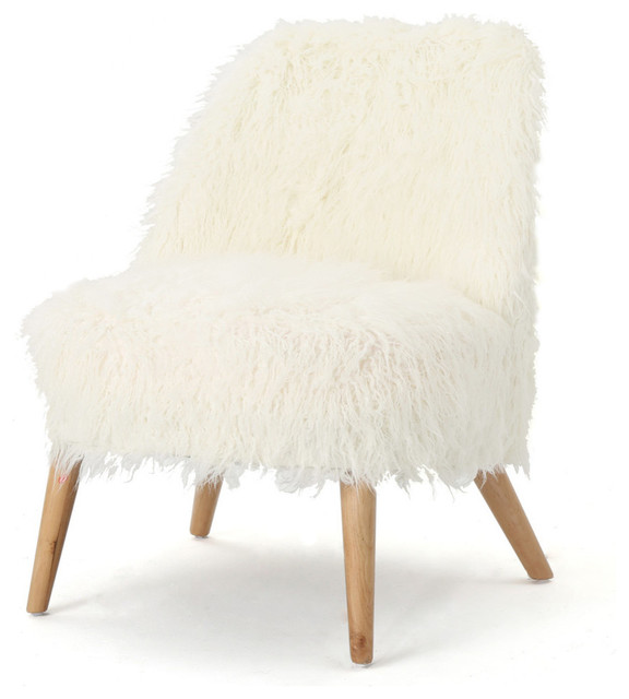 GDF Studio Soho Shaggy Faux Fur Accent Chair, White/Natural by GDFStudio