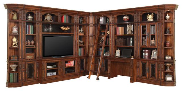 11-Piece Leonardo Library Bookcase Wall Entertainment Center